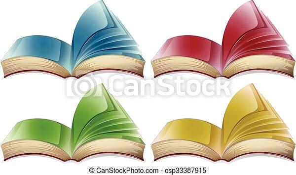 Cuatro, diferente, libros, colores, ilustración.