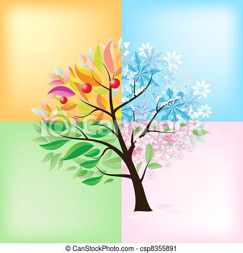 Cuatro estaciones de árbol - csp8355891