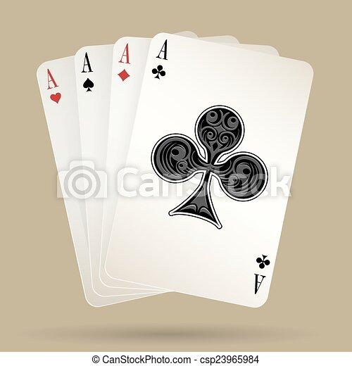 Cuatro ases jugando a las cartas, ganando la mano de póker - csp23965984