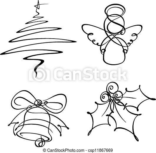 cuatro, solo, iconos, línea, navidad - csp11867669