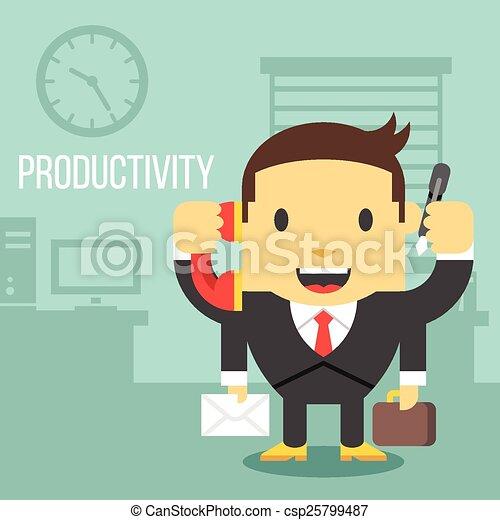 Trabajador de oficina con cuatro manos - csp25799487