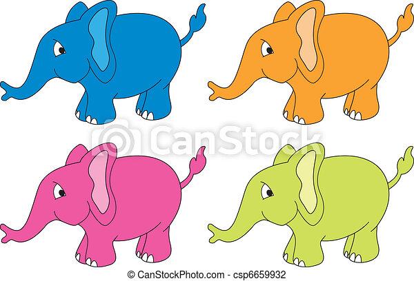 Cuatro elefantes vectores - csp6659932