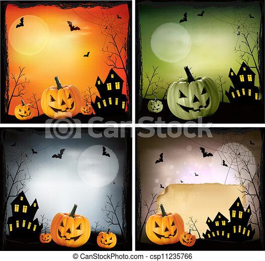 cuatro, vector, halloween, backgrounds. - csp11235766