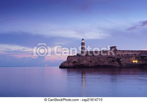 Cuba, Caribbean Sea, la habana, havana, morro, lighthouse - csp21814710