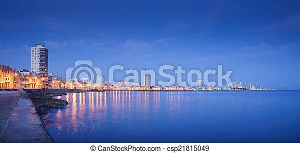 Cuba, Caribbean Sea, la habana, havana, skyline at night - csp21815049