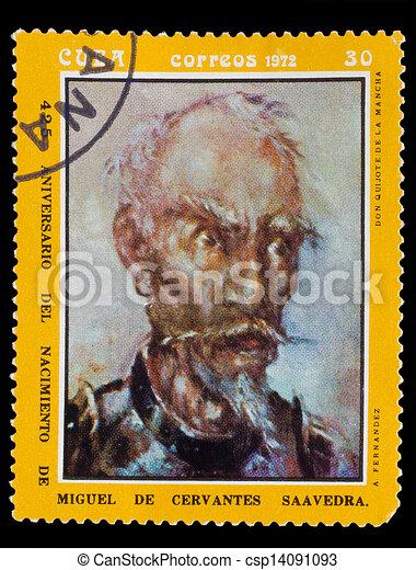 CUBA - CIRCA 1972: A post stamp printed in CUBA , showing artist fernandez, Don Quixote de la Mancha, Circa1972 - csp14091093