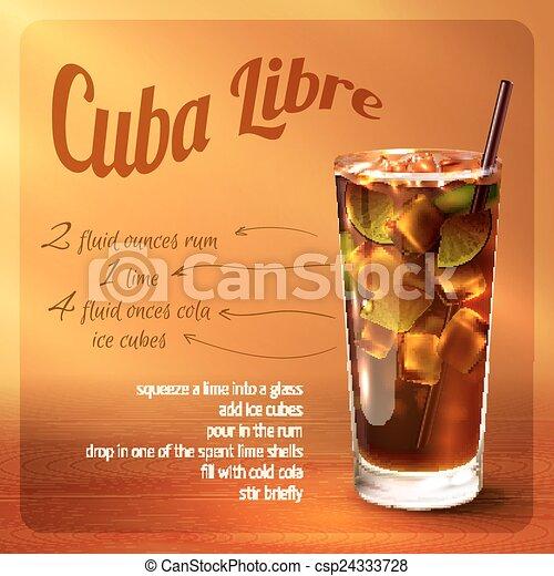 Cuba libre cocktail recipe - csp24333728