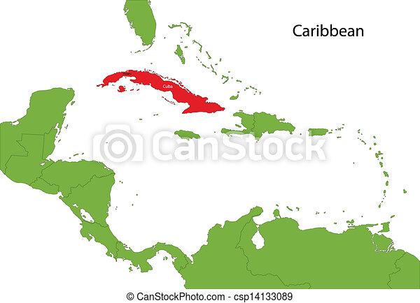 Cuba map location of cuba on the caribbean cuba map csp14133089 gumiabroncs Gallery