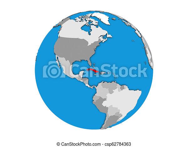 Cuba on 3D globe isolated - csp62784363