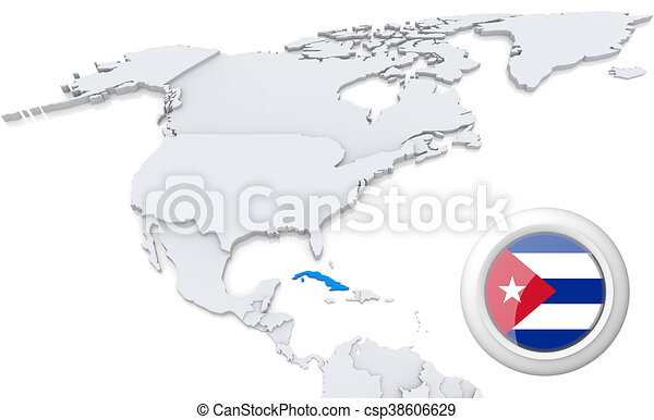 Cuba on a map of north america Highlighted cuba on map of clip