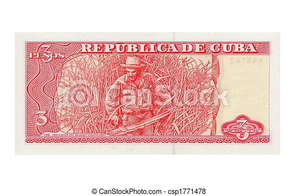 Cuba Pesos Vintage 3 Pesos Unconvertible Money From Cuba