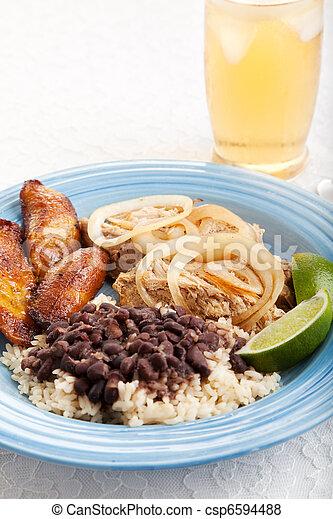 Cuban Dinner with Iced Tea - csp6594488