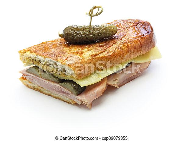 cuban sandwich, cuban mix, ham and cheese pressed sandwich - csp39079355