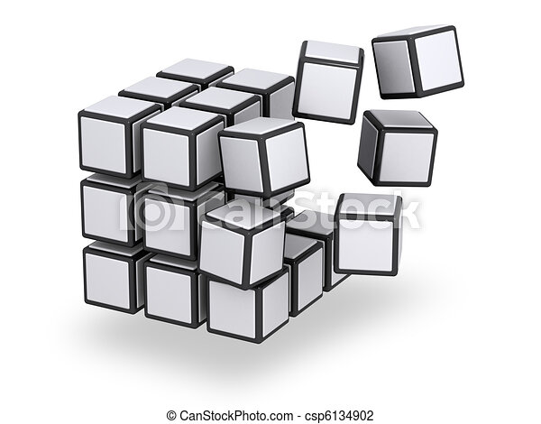 Cube being assembled or disassembled - csp6134902