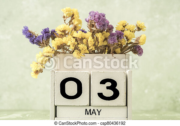 cube calendar for may on green with copy space - csp80436192
