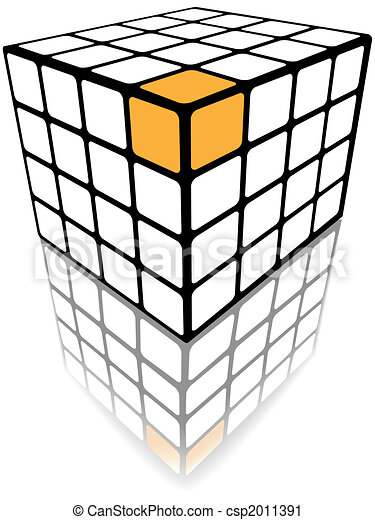 Cube puzzle box 3d gold solution on white - csp2011391