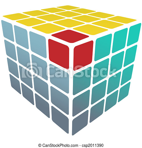 Cube puzzle box 3d gold solution on white - csp2011390