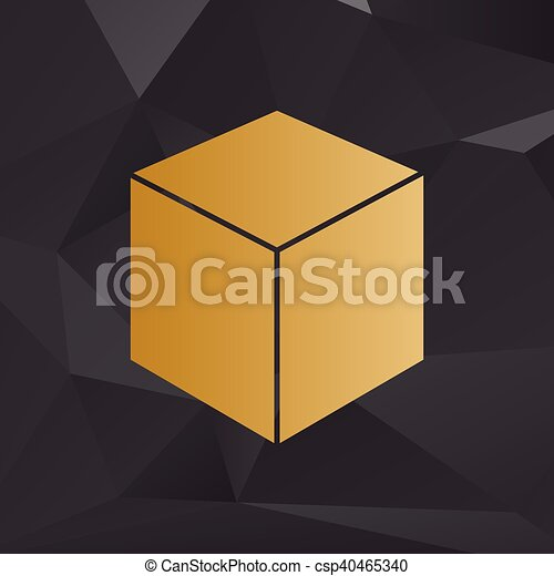 Cube sign illustration. Golden style on background with polygons. - csp40465340