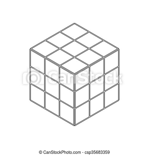 Cube toy puzzle icon, isometric 3d style - csp35683359