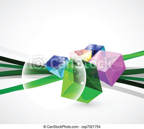 cube, verre, résumé, vecteur, fond - csp7021754