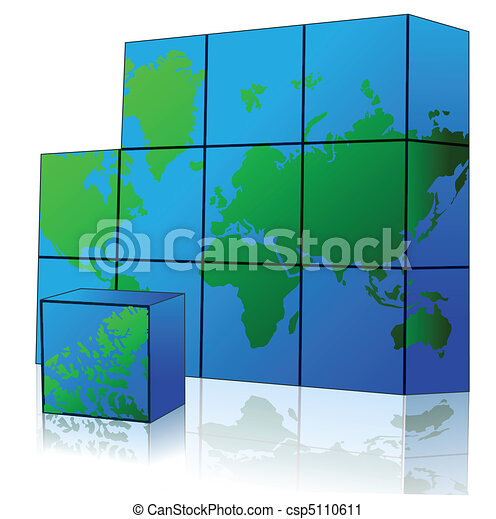Cube with world map illustration of map puzzle on white vector cube with world map csp5110611 gumiabroncs Images