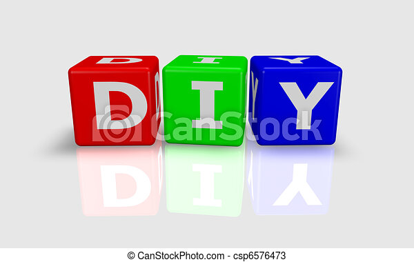 Cube Word Diy Do It Yourself In Green Red And Blue