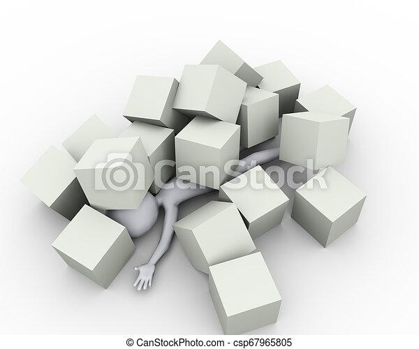 cubes, boîtes, sous, couvert, homme, 3d - csp67965805