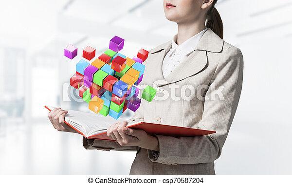 cubes, coloré, projection, femme, géométrique, 3d - csp70587204