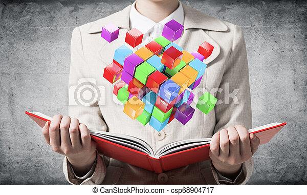 cubes, coloré, projection, femme, géométrique, 3d - csp68904717