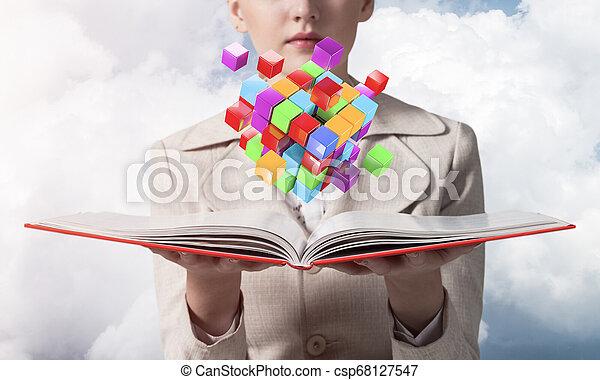 cubes, coloré, projection, femme, géométrique, 3d - csp68127547