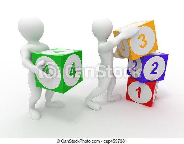 Hombres con cubos. Números - csp4537381