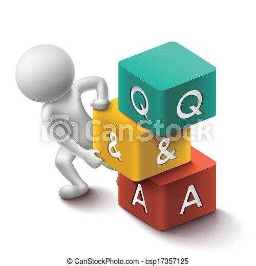 cubes, mot, illustration, personne, q&a, 3d - csp17357125