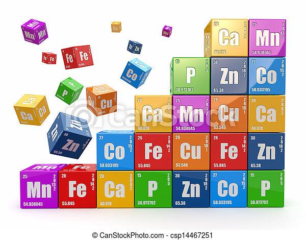 cubes, mur, concept., 3d, table périodique, wiyh, element., chimie - csp14467251