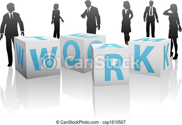 cubes, silhouette, gens, uni, équipe travail, blanc - csp1610507