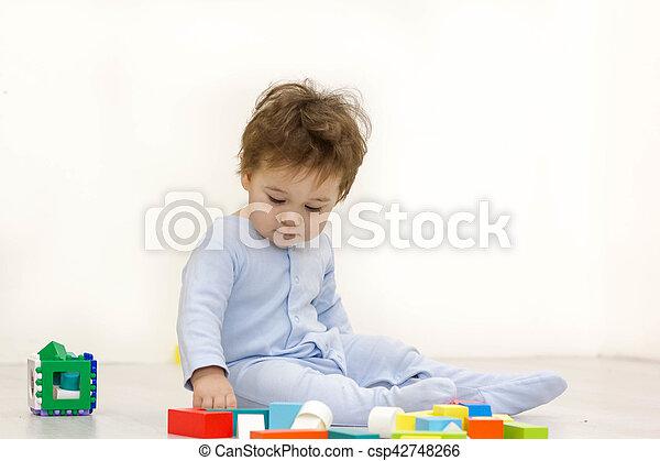 cubes, vieux, année, une, jouet, enfant, adorable, jouer - csp42748266