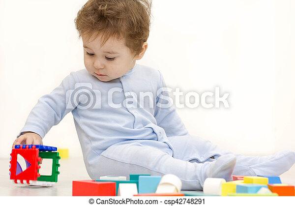 cubes, vieux, année, une, jouet, enfant, adorable, jouer - csp42748291