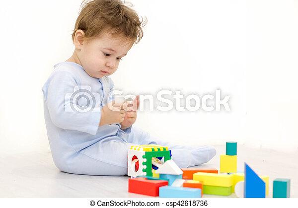 cubes, vieux, année, une, jouet, enfant, adorable, jouer - csp42618736