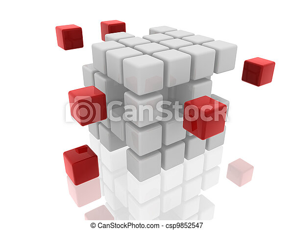 cubes white and red - csp9852547