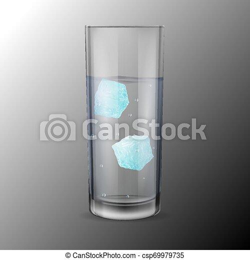 cubi, alcool, due, acqua ghiaccio, vetro, o - csp69979735