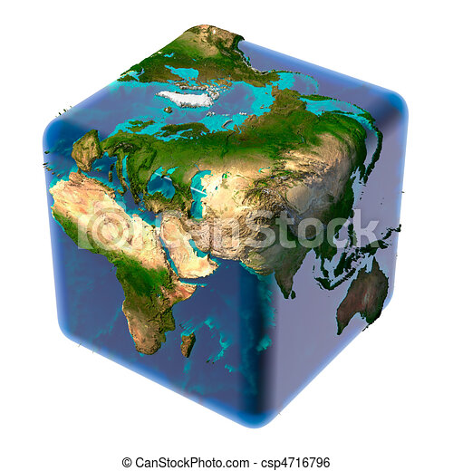Cubic Earth with translucent ocean - csp4716796