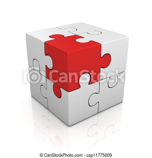 cubical puzzle with one red piece  - csp11775009