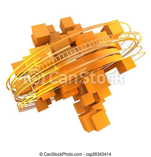 cubico, rotazione, arancia - csp26343414