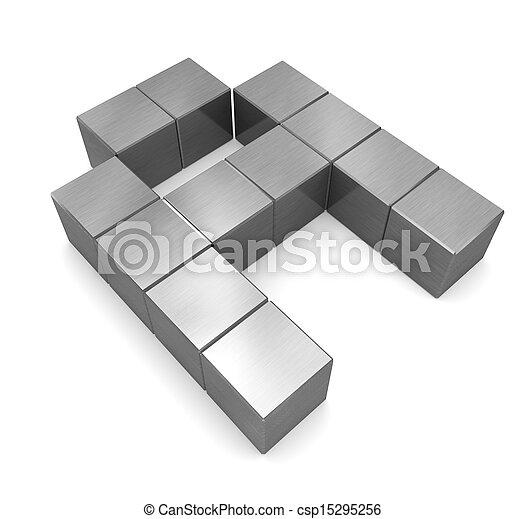 cubique, métal, lettre - csp15295256
