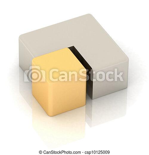 cubique, tarte, tridimensionnel - csp10125009