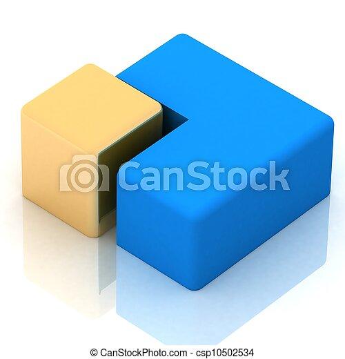 cubique, tarte, tridimensionnel - csp10502534