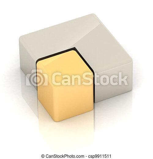 cubique, tridimensionnel, tarte - csp9911511