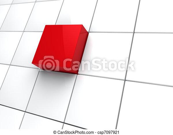 3d cubo rojo - csp7097921