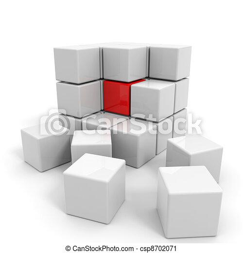 Cubo blanco armado con núcleo rojo. - csp8702071