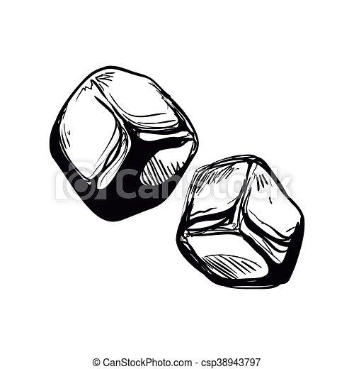 Cubo Grafico Gelo Vetorial Icon Design Esboco Conceito
