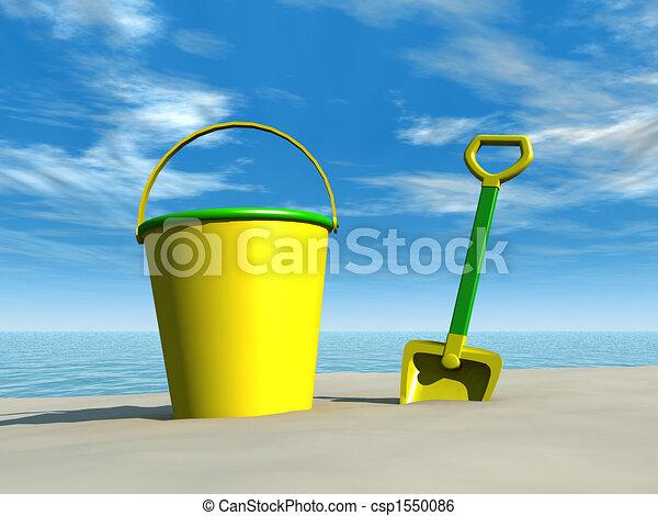 Bola y pala en la playa - csp1550086